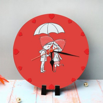 Love Theme Printed Round Table Clock