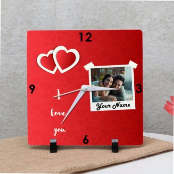 One Personalised Square Shape Love Theme Table Clock