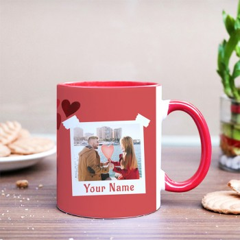 One Love Theme Personalised Red Handle Mug