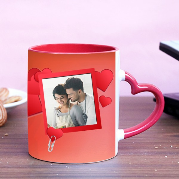 Personalised Photo Heart Handle Coffee Mug for Husband Wife