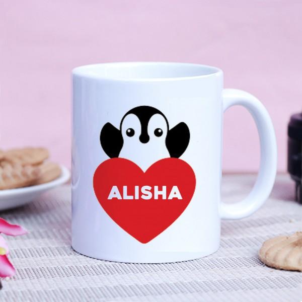 Personalised Name Penguin Printed White Coffee Mug