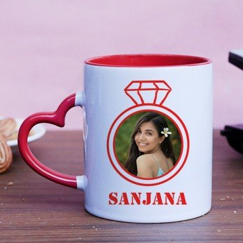 One Happy Propose Day Personalised Red Heart Handle Mug