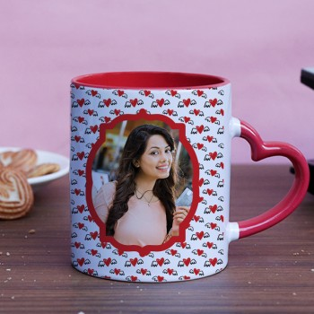 One Red Heart Handle Personalised Photo Mug