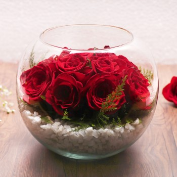 12 Red Roses in Bowl