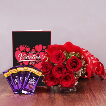 6 Red Roses in Paper Packing with 5 Dairy Milk Chocolate (13.2 gm) and Valentines Day Greeting Card