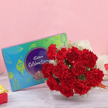 12 Red Carnations in Paper Packing with One Cadbury Celebration Pack