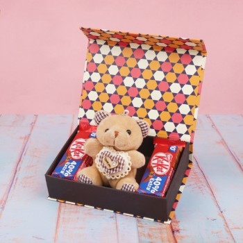 Chocolate Box of Kitkat Chocolates and Teddy Bear
