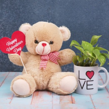 Valentines Day Teddy Bear with Printed Coffee Mug and Money Plant