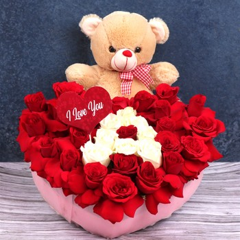 "30 (Red & White) Roses Heart Shape Arrangement with customized name initial - 12 Inches Teddy Bear with "" Happy Valentines Day"" Tag"