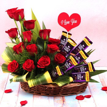 "14 Red Roses Basket Arrangement with 8 Dairy Milk Chocolates 13.2 gm and ""I love you"" Tag"