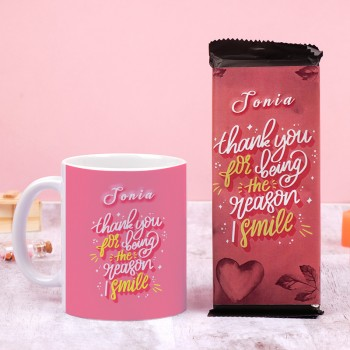 Love Theme Personalised White Handle Mug and 2 Bournville Chocolate