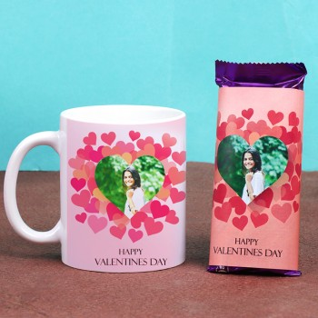 One Happy Valentines Day Personalised White Mug and 2 Dairy Milk Silk Personalised Chocolate