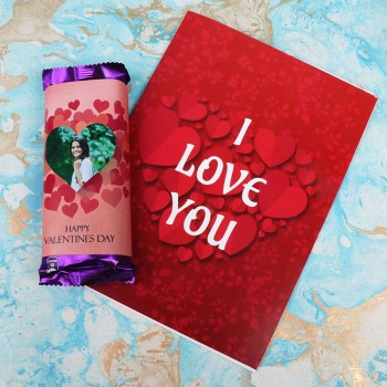 2 Personalised Dairy Milk Silk Chocolate (65 gm) with One I love u Greeting Card