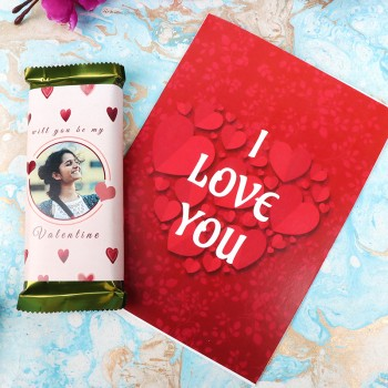 2 Personalised Temptation Chocolate and One I love u Greeting Card
