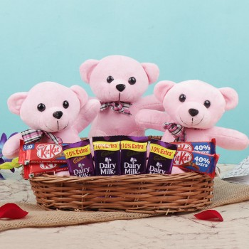 Combo of 3 Teddy Bear 6 inches and 4 Kitkat Chocolate (15 gm) and 4 Dairy Milk Chocolate (13.2 gm) in a Basket
