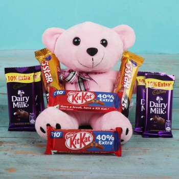 Combo of 6 inches 1 Teddy Bear and 2 Kitkat Chocolate (15 gm) and 4 Dairy Milk Chocolate (13.2 gm) and 2 Five Star Chocolate (22.4 gm)