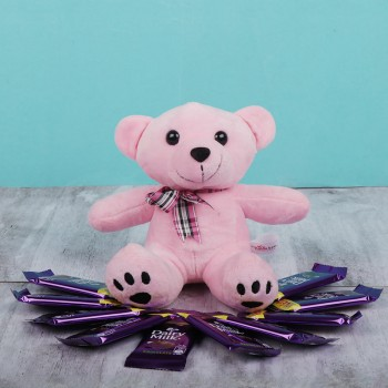Combo of 6 inches Teddy and 10 Dairy Milk Chocolate 13.2 gm