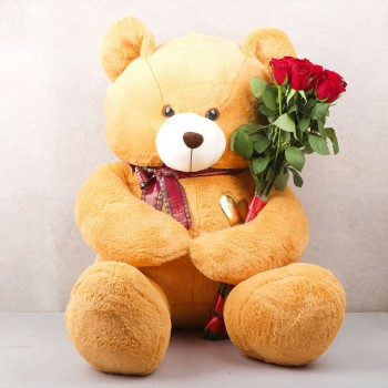 One Teddy Bear (3 Feets) with 10 Red Roses