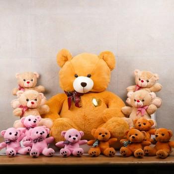 Room full of Teddy Bears including One Teddy Bear (3 Feet) and 4 Teddy Bear (12 inches) and 8 Teddy Bear ( 6 inches)
