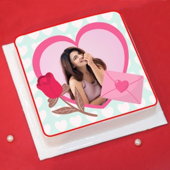 Half Kg Love Theme Square Shape Strawberry Photo Cake