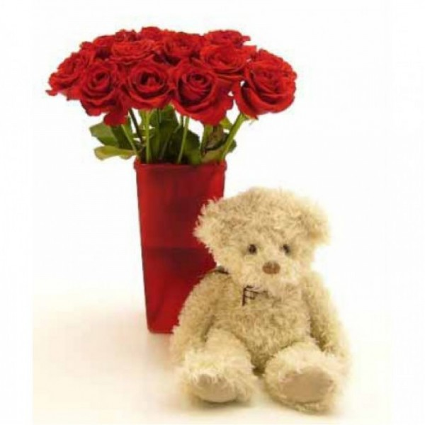 10 Red Roses  with Teddy Bear (10 inches) in a Glass Vase