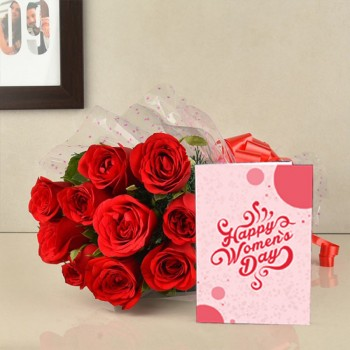 10 Red Roses Bouquet with Women's Day Greeting Card