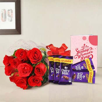 8 Red Roses Bunch with 5 Dairy Milk Chocolate (13.2 gm) and Womens Day Greeting Card