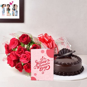10 Red Roses Bouquet with 1/2 Kg Chocolate Truffle Cake and Womens Day Greeting Card