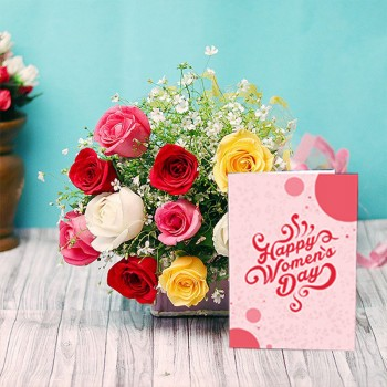 10 Mixed Roses Bunch with Womens Day Greeting Card