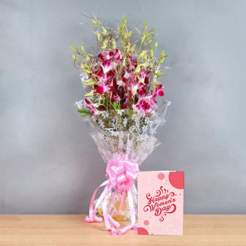 6 Purple Orchids in Cellophane Packing with Womens Day Greeting Card