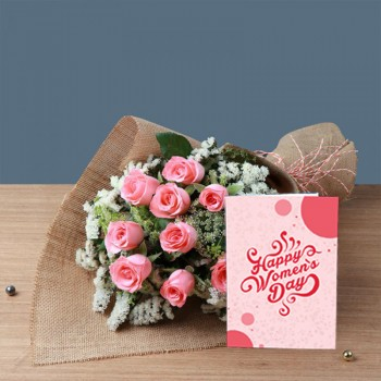 One Bouquet of 10 Pink Roses in Jute Packing and Pink Rafia with Womens Day Greeting Card