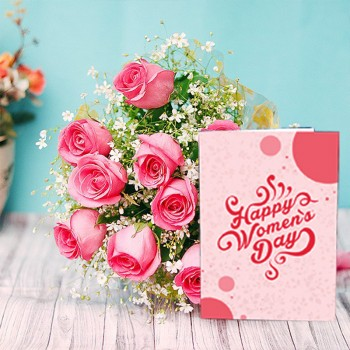 10 Pink Roses Bouquet with Womens Day Greeting Card