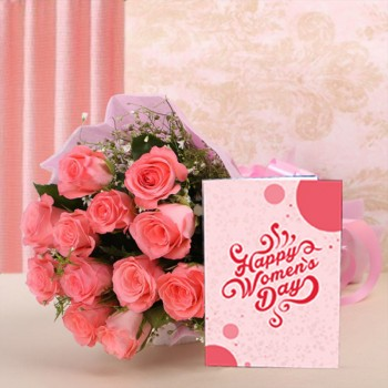 12 Pink Roses in Pink Paper with Womens Day Greeting Card