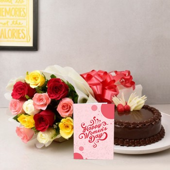 12 Mix Roses in Paper Packing with Half Kg Chocolate Cake and Womens Day Greeting Card