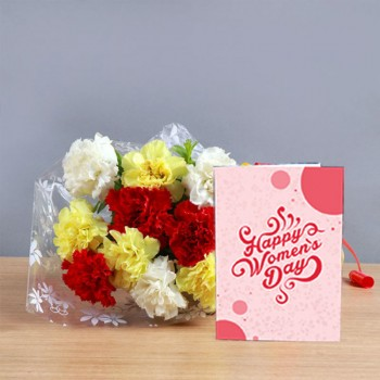 10 Mix Carnations Bunch with Womens Day Greeting Card