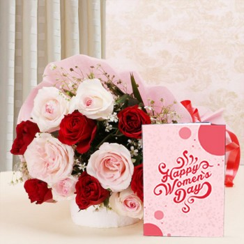 12 Roses (Red and Pink) in Pink paper packing with Womens Day Greeting Card