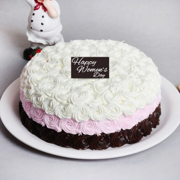 Half Kg Designer Vanilla Rose Cake for Womens Day