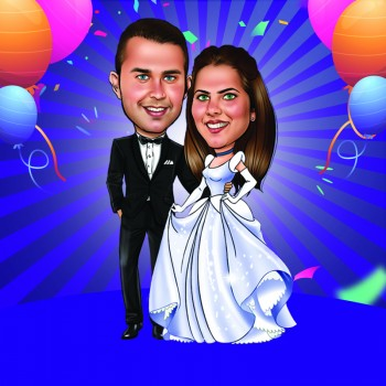 Personalised Anniversary Couple E Caricature
