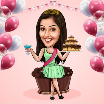 Birthday Girl Personalised E Caricature