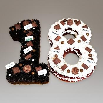 18th number chocolate cream cake