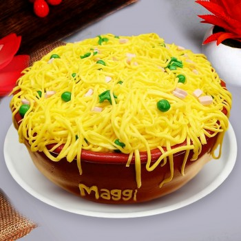 One Kg Maggi Theme Chocolate Fondant Cake