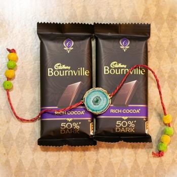 Designer Thread Rakhi Chocolate Combo