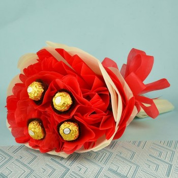 4 Ferrero Rocher Chocolate Bouquet in Red and White paper packaging