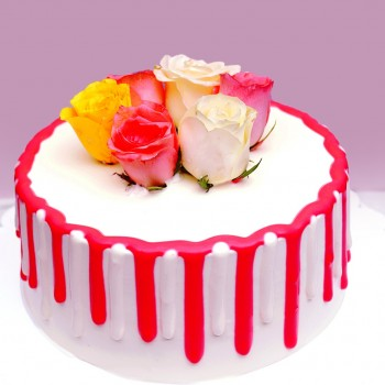 1/2 Kg Vanilla Cream Cake with 6 Real Roses