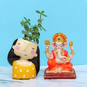 Jade Plant with Ganesha God Idol