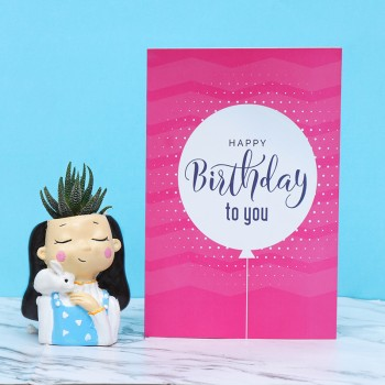 Zebra Cactus Plant with Birthday Greeting Card