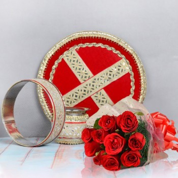 Karwa Chauth Set and Red Roses