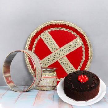 Karwa Chauth Thali and Truffle Cake