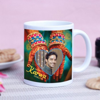 Karwa Chauth White Personalised Mug