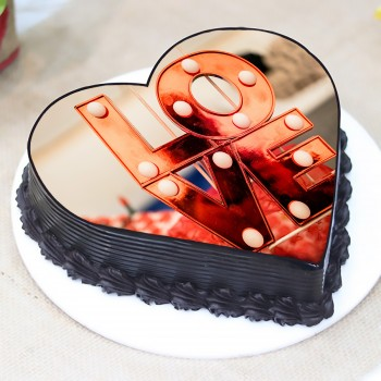 Love Theme Photo Truffle Cake